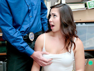 Alluring sexy mall shoplifter chick..