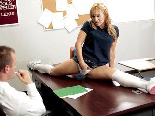 Alluring gymnast blonde teen Lea Lexis..