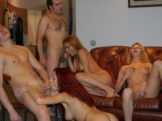 Playful pretty soiree girls entice..